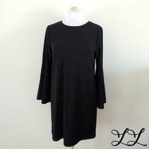NWOT Halogen Dress Black Knee Midi Bow Tie Flare